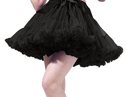 Poplarboy Damen Kurz Tüll Vintage Petticoat Reifrock Mehrfarbengroß Unterröcke Braut Crinoline Ballett Blase Tutu Ball Kleid Underskirt Schwarz
