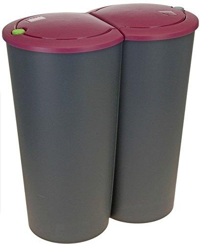 Abfalleimer Mülleimer Zwillingseimer mit farbigem Deckel 2 x 25 Liter, Farbe:Bourdaux Rot