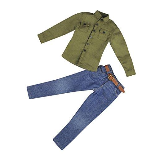 MagiDeal 1/6 Armeegrün langärmelig Shirt & Jeans Hosen mit Gürtel - Kleidung Satz Für 12'' männliche Action Figur