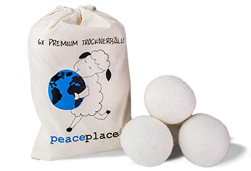 peaceplace Trocknerbälle 6x | Trocknerkugeln aus Schafswolle | Der natürliche Weichspüler für - Trockner Daunen Tennisbälle