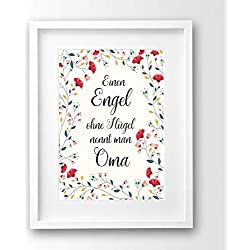 Kunstdruck Geschenk Oma, A4 ungerahmt, Sprüche Poster, Einen Engel ohne Flügel