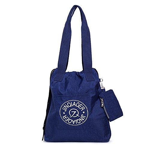 Sportliche Nylon-anzug (Wasserdichte Handtasche Einkaufstasche für Frauen Mummy Teenager Kinder Kinder Schwarz Blau Kordelzug Umhängetasche mit Kleinen Geldbeutel Fall)