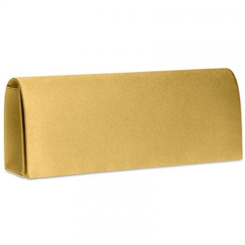 CASPAR TA278 Damen Satin Clutch , Farbe:gold
