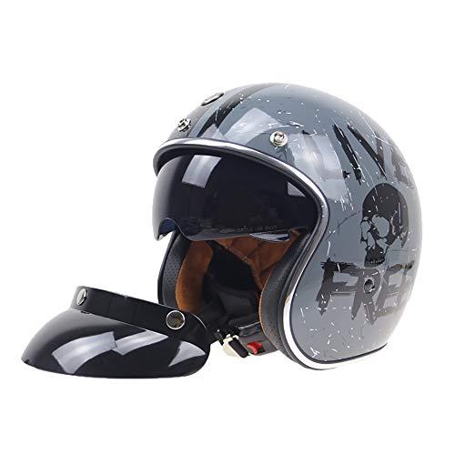 SXC Motorradhelm - Harley Helm - Vintage 3/4 Helm für Männer und Frauen - Persönlichkeit Mode Helm - mit Sonnenblende - Eingebaute Linse - ECE/DOT-Zertifizierung - 55~61CM