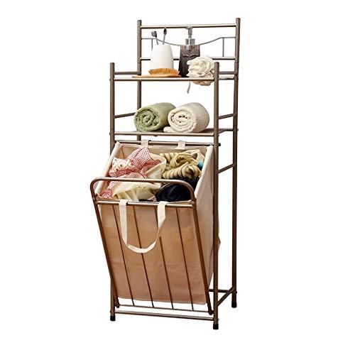 ALX Schmutzige Kleidungs-Ablagekorb-doppeltes Badezimmer-Badezimmer-vertikaler Gestell-Vorratsbehälter Mit Oxford-Tasche - Drainage-tasche