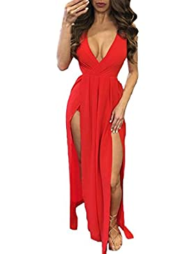 Auxo Abito Maxi Lungo Sexy Donna Vestiti Backless V Scollo Clubwear Long Dress Bra