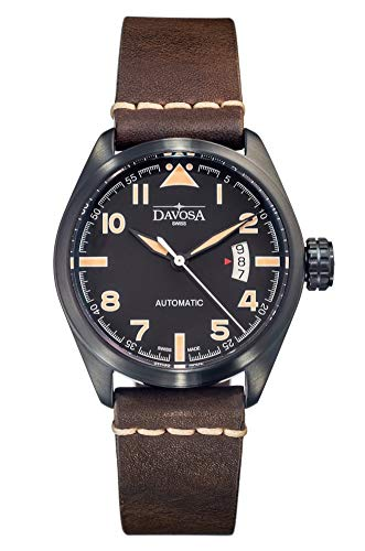 Davosa Military Automatic Black Face Vintage Brown Leather Strap Wrist Watch