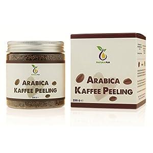 Natura Pur Arabica Kaffee Peeling 250g, vegan – natürliches Body-Scrub Körperpeeling – Anti-Aging Pflege gegen unreine Haut für Gesicht und Körper