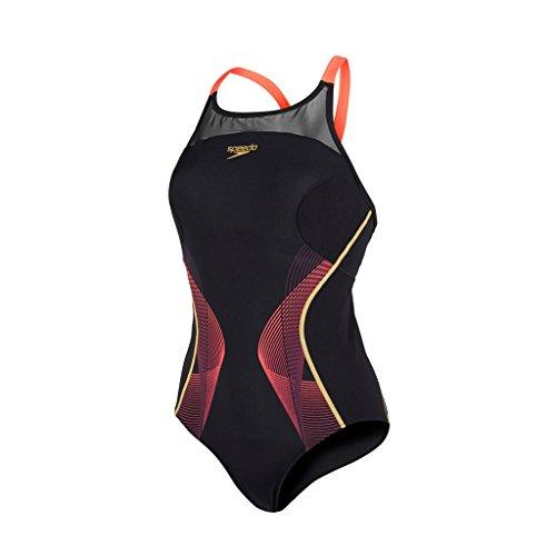 Speedo Damen Fit Pinnacle Xback Badeanzug, Black/Psycho Red/Global Gold, (Unterstützung Speedo Badeanzug Büste Mit)