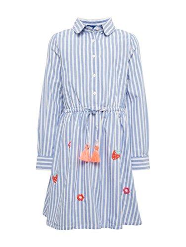 TOM TAILOR für Mädchen Kleider & Jumpsuits Gestreiftes Kleid mit Stickereien Sunset Blue, 116/122