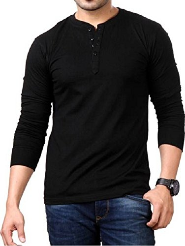 STYLE SHELL Men's Henley Full Sleeve Cotton T-Shirt (Black, X-Large)