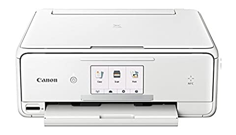 Canon PIXMA TS8051 Farbtintenstrahl-Multifunktionsgerät (Drucken, Scannen, Kopieren, 6 separate Tinten, WLAN, Print App, Duplex, 2.400 x 4.800 dpi) weiß – inkl. Canon PP-201 Fotoglanzpapier Plus II 13 x 13 cm 20 Blatt