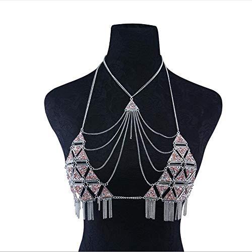 SSLL Collana La Catena del Corpo della Lega del Triangolo Strass Catena del Torace Collana Modelli Femminili di Moda Sexy Accessori Gioielli da Festa
