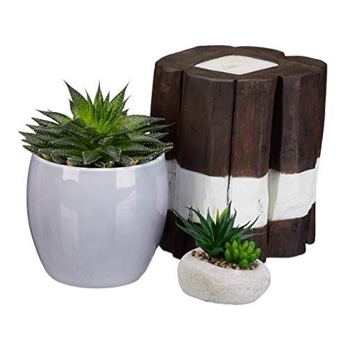 Relaxdays Kerze Baumstamm, rustikal, Kerzenständer, Tisch-Deko, Säulenkerze, Treibholz, massiv, 20 cm hoch, Braun-Weiß
