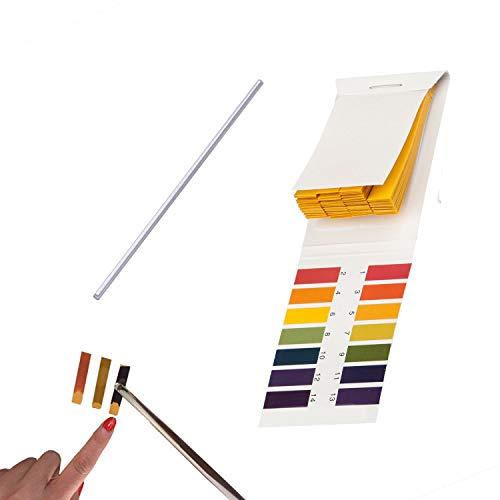 pH 1-14 Test Paper Book Testindikator Lackmuspapier-Wasser-Boden-Testkit 80 Streifen mit 1 Stk. Glasrührstab