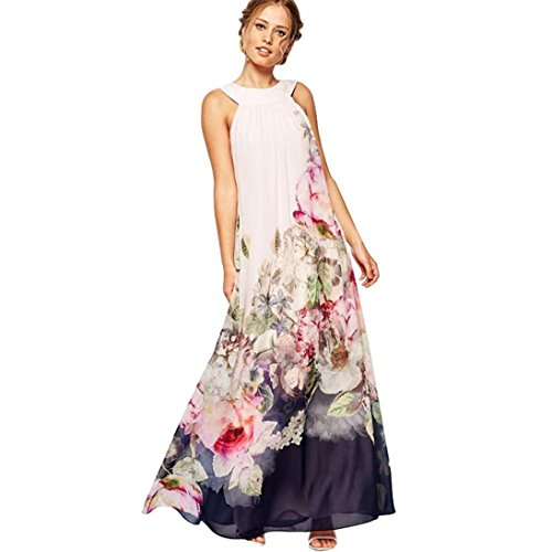 Resplend Damen Sommer Frauen Casual Fit Kleid Flare Floral Ärmelloses Kleid Böhmischer Off Schulter Langes Strandkleid (Weiß, M) (Herz Jeans Flare)