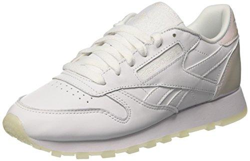 Reebok Classic Leather L Damen Niedrig Schuhe, Elfenbein (Pearl-White/White/Ice), 38.5 EU (Reebok Cl Classic)