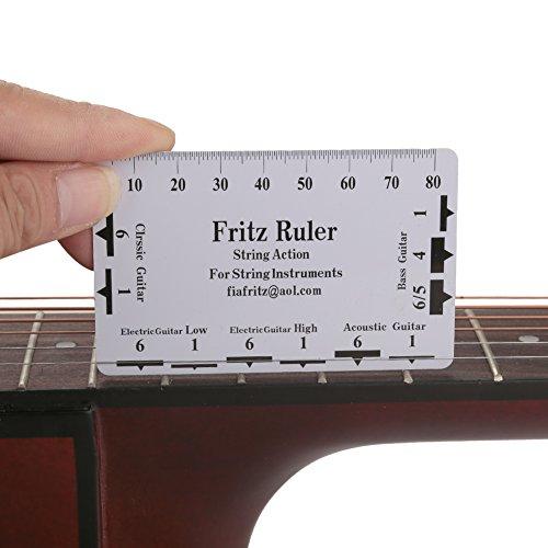 Tbest Guitar String Action Gauge Righello Strumenti di Misura per Basso Elettrico 2Pcs