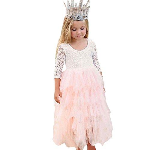 Robe De Princesse Anniversaire Robe d'honneur Mariage avec Bowknot en Dentelle Robe Tutu Maille Pas Cher Mode De SoiréE NoëL Carnaval (6T(140), Rose)