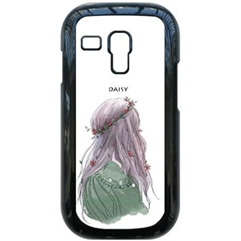 Samsung Galaxy S3 Mini i8190 Case,Beautiful Girl Wearing Garland [DAISY] Durable Hard Plastic Scratch-Proof Protective Case,Black