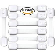 elitebaby ajustable niño seguridad cerraduras 8Pack–Cierres para Babyproof gabinetes, aparatos, cajones, inodoro, frigorífico, horno | sin necesidad de taladrar | Extra fuerte 3M Adhesivo, blanco, Bebé Ducha Regalo