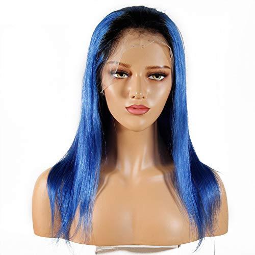 KINYNE Halloween Ombre Blue Perücken Brasilianisches Reines Menschenhaar Gerade T1B / Blaue Dunkle Wurzeln 360 Volle Spitze Party Perücke 130% Dichte Natürlichen Haaransatz,24Inch