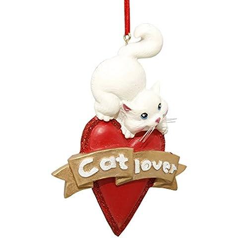 Hearted Gattino bianco Natale - Christmas ciondolo Natale - Natale decorazione ciondolo a forma di gatto con cuore - ciondolo a forma di albero di Natale con gattino