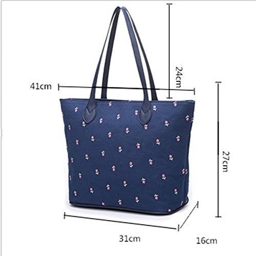 Leinwand Frauen Retro Elegant Druck Individualität Große Kapazität Handtasche Purple