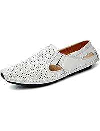 Mocasines Zapatos de conducción Casuales de Cuero Loafers Slip On Casual Planos Hombre