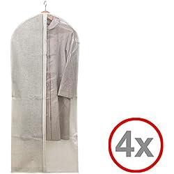 Kleidersack Kleiderhülle Anzugsack Anzug Schutzhülle, transparent, lang oder kurz - Aufbewahrung von Kleidern, Anzügen, Hemden, Etc. (4er, 60 x 137 cm)