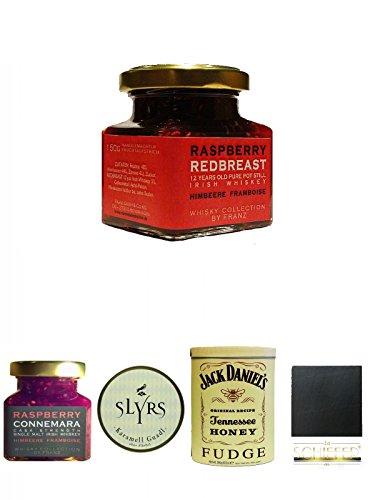 Redbreast 12 Jahre Himbeere Marmelade 150 Gramm Glas + Connemara Irish Whisky Himbeer Marmelade 150g im Glas + Slyrs bayerische Guadl 200 Gramm Karamellbonbons ohne Alkohol + Jack Daniels - HONEY - Fudge 300 Gramm + Schiefer Glasuntersetzer eckig ca. 9,5