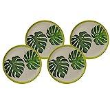 BIOZOYG Bio Bambus Teller-Set flach Leafs I Speiseteller 4er Set rund Ø 25,5 cm I Umweltfreundliches Melamin Bambus-Geschirr Set Camping Melamin Teller Speiseteller Bambus Kuchenteller Bunt Set