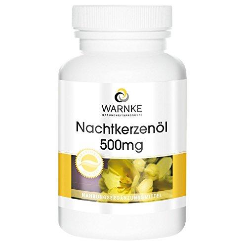 Aceite de Onagra para noche – prensado en frío – con 71,4% de ácido linoleico y 10,2% de vitamina E – 250 cápsulas blandas – paquete grande