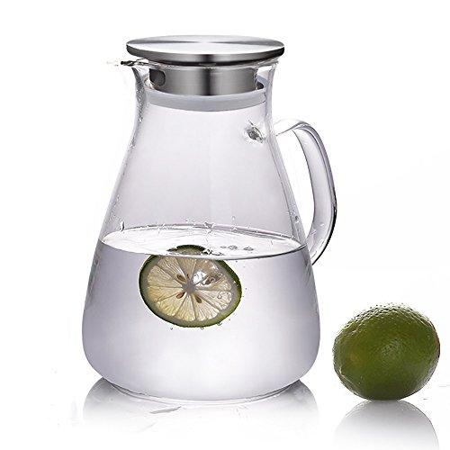 Xiazhi Glas Eistee Krug mit Deckel, Glas Wasser Karaffe, Wasser Krug für Heiß/Kalt Wasser, 1600 ml Wasser-gläser Und Krug