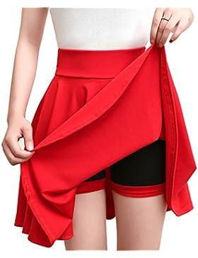 Mujer Tamaño grande Falda Midi con Pliegues Cintura Alta Elegante Faldas