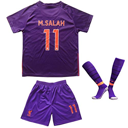 Liverpool Salah Trikot Set #11 Auswärts 2018/19 Kinder Fussball Trikot Mit Shorts und Socken Kinder (9-10 Jahre)