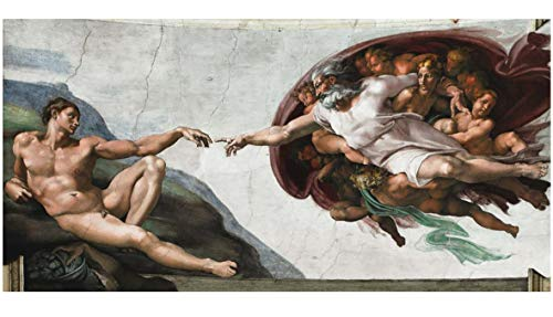 Topquadro XXL Wandbild Leinwandbild 100x50cm, Die Erschaffung Adams - Michelangelo Italienische Renaissance, klassischer Stil - Panoramabild Keilrahmenbild, Bild auf Leinwand - Einteilig