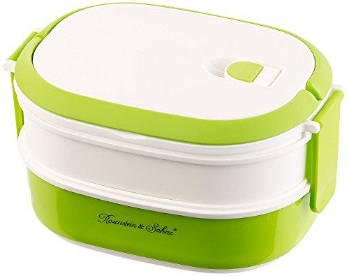 Rosenstein & Söhne Brotdose: Lunchbox mit 2 Etagen und Tragegriff, Clip-Deckel, BPA-frei, 700 ml (Dosen)