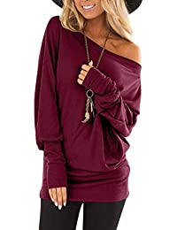 Flying Rabbit Womens Long Sleeve Tops One Off-Shoulder Shirts Baggy Batwing Top Blouse Womens Loose Cold Shoulder T Shirt Casual Tunic Tops Blouse