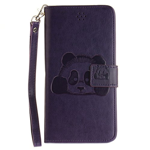 iPhone 5/SE/5S Coque , Lotuslnn Apple iPhone 5/SE/5S Cuir Etui Housse Bleu marine plume Violet Ours