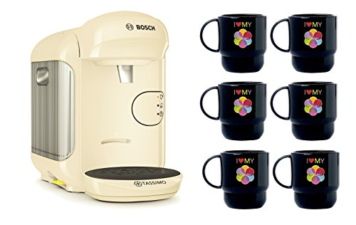 Bosch TASSIMO Vivy 2 Bundle Set + 6x Tupper Becher Tasse Kaffeemaschine (Creme)