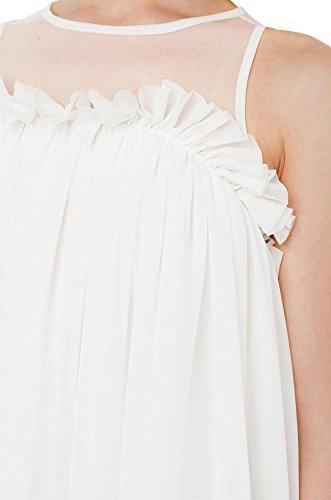 Purpura Erizo Femme Robe Courte Sans Manche Col Rond Jointive Froufrous Décolletée Blanc