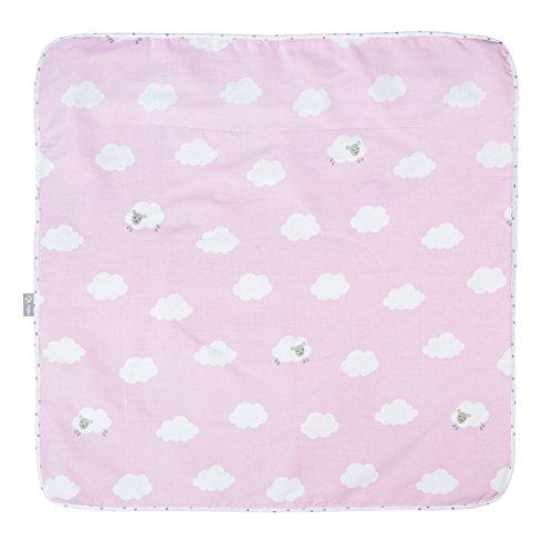 roba Babydecke 'Kleine Wolke rosa', Decke zum Kuscheln, Krabbeln & Spielen, 2 seitig, 2 Funktionen: 1x super weich, warm & flauschig, 1 x 100% Baumwolle