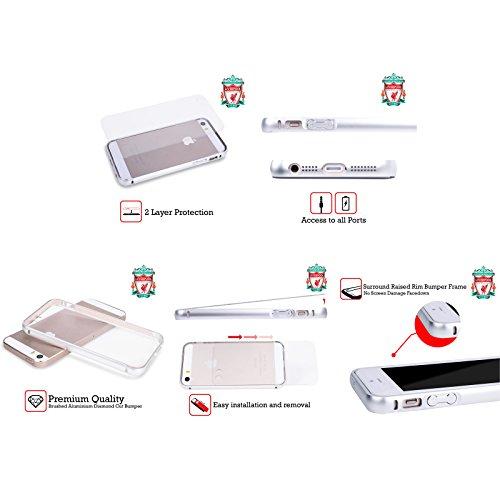 Personalizzata Personale Liverpool Football Club Geometrico Rosso 2017/18 Argento Cover Contorno con Bumper in Alluminio per Apple iPhone 5 / 5s / SE Liver Bird Maglietta Home