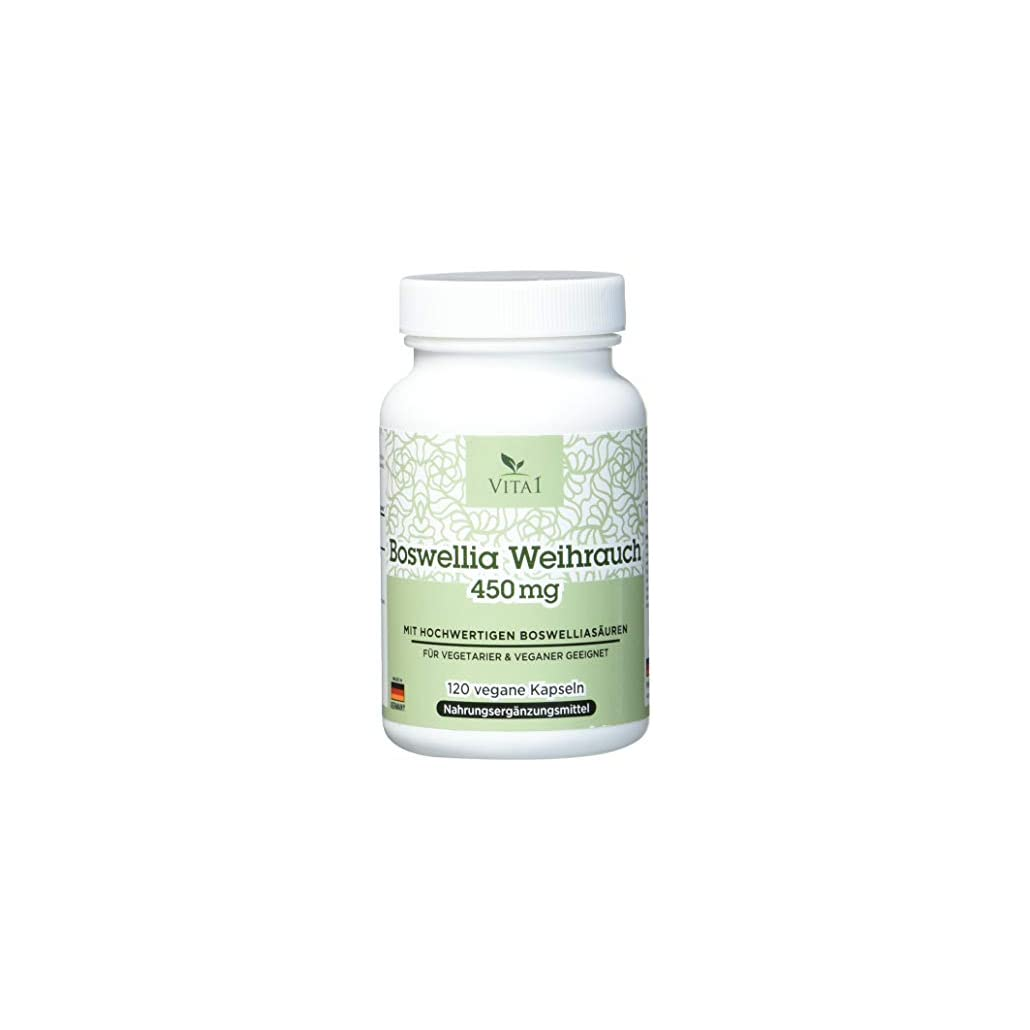 VITA1 Boswellia Serrata Weihrauch 450mg • 120 Kapseln (2 Monate Vorrat) • Glutenfrei, vegan, koscher & halal • Hergestellt in Deutschland