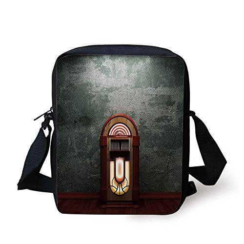 Jukebox,Scary Movie Theme Old Abandoned Home with Antique Old Music Box Image,Petrol Green and Brown Print Kids Crossbody Messenger Bag Purse