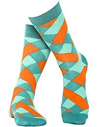 Türkis karierte Socken aus hochwertiger, langstapliger Bio Baumwolle, GOTS zertifiziert