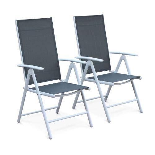 Alice's Garden Lot de 2 fauteuils Multi-Positions Naevia en Aluminium Blanc et textilène Gris