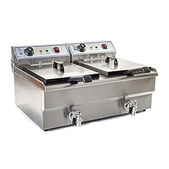 Royal Catering - RCEF-10DH - Double Friteuse électrique de 2x10 litres - 100 % acier inox - 2 x 3,2 kW