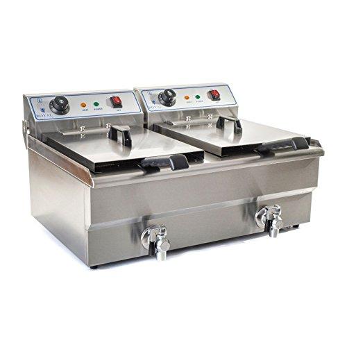 Royal Catering Freidora Electrica Profesional Doble RCSF-16DTH (2 x 16 L, 2 x 6.000 W, 400 V, Temperatura máx. alcanzada a 200 °C, Grifo de vaciado)